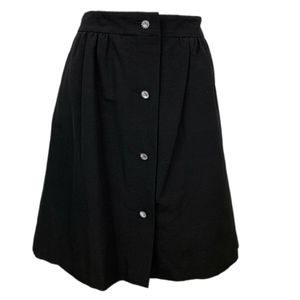 TALBOTS Black Crystal Button Front ALine Skirt 12P